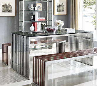 china chrome steel amici stool bench