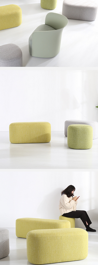 china modern simple linen velvet fabric long pouf ottoman stool